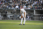 CHICAGO - SEPTEMBER 29:  Chris Sale #49 of the Chicago White Sox reacts after giving up a home run against the Tampa Bay Rays on September 29, 2012 at U.S. Cellular Field in Chicago, Illinois.  (Photo by Ron Vesely)  Subject:  Chris Sale