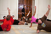 "First Lady Michelle Obama participates in a taping for the Biggest Loser"" in the East Room of the White House, February 16, 2012. .Mandatory Credit: Sonya N. Hebert - White House via CNP"