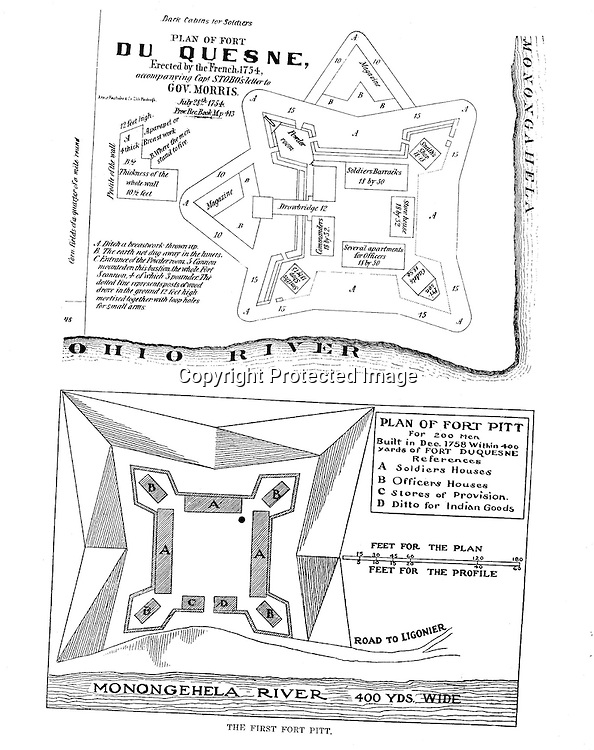 1750s - Diagrams of Fort Duquesne and Fort Pitt. Diagrams were included in the Blockhouse during the 1948 on location assignment for AG Trimble Company - 1948.