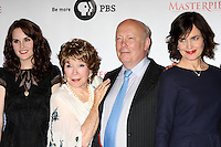 "LOS ANGELES - JUL 21:  Michelle Dockery, Shirley MacLaine, Julian Fellowes, Elizabeth McGovern at a photocall for ""Downton Abby"" at Beverly Hilton Hotel on July 21, 2012 in Beverly Hills, CA"
