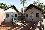 Hawaii: Molokai, eco-lodging at The Lodge at Moloki Ranch, at Kaupoa Beach, self-sufficient lodgings with own solar electricity, solar hot water, and composting toilet..Photo himolo198-72346..Photo copyright Lee Foster, www.fostertravel.com, lee@fostertravel.com, 510-549-2202