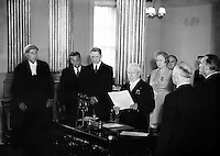 Sean T. O'Ceallaigh taking the Oath of Office at Inauguration.25/06/1952..Se&aacute;n Tom&aacute;s &Oacute; Ceallaigh; 25/08/1882 - 23/11/1966 was the second President of Ireland (1945-1959). He was a member of D&aacute;il &Eacute;ireann from 1918 until his election as President. During this time he served as Minister for Local Government (1932-1939) and Minister for Finance (1939-1945). He also served as T&aacute;naiste (deputy prime minister) of Ireland from 1932 to 1945, under the title Vice-President of the Executive Council from 1932 until 1937 and T&aacute;naiste from 1937 until 1945.