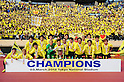 Kashiwa Reysol team group,.MARCH 3, 2012 - Football / Soccer :.Kashiwa Reysol players pose with the trophy and their fans as they celebrate after winning the FUJI XEROX Super Cup 2012 match between Kashiwa Reysol 2-1 F.C.Tokyo at National Stadium in Tokyo, Japan. (Photo by AFLO)