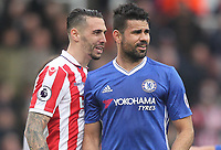 Stoke City's Geoff Cameron exchanges words with Chelsea's Diego CostaPhotographer Mick Walker/CameraSportThe Premier League - Stoke City v Chelsea - Saturday 18th March 2017 - bet365 Stadium - StokeWorld Copyright © 2017 CameraSport. All rights reserved. 43 Linden Ave. Countesthorpe. Leicester. England. LE8 5PG - Tel: +44 (0) 116 277 4147 - admin@camerasport.com - www.camerasport.com