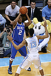 07 March 2015: Duke's Quinn Cook (2) and North Carolina's J.P. Tokoto (13). The University of North Carolina Tar Heels played the Duke University Blue Devils in an NCAA Division I Men's basketball game at the Dean E. Smith Center in Chapel Hill, North Carolina. Duke won the game 84-77.