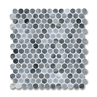 2cm Pennyrounds shown in polished Greystoke is part of New Ravenna's Studio Line. All mosaics in this collection are ready to ship within 48 hours.<br />