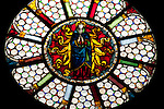Stained glass window of the Santa Maria delle Grazie church in Gravedona, a town on Lake Como, Italy