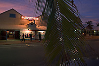 People are drawn in the evening to Sun Pictures, a theater built half indoors and half outdoors to accommodate the wet and the dry seasons.  It is the oldest operating outdoor picture garden in the world.  It showed silent films from 1916 until 1933 and then talkies from 33' on.<br /> A tramway was built to this building so surrounding communities could come from long distances to see silent films. <br /> Broome has 15,000 regular residents, but swells to 100,000 in tourist season.