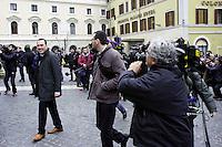 Roma 15 marzo 2013.Montecitorio l'arrivo dei parlamentari alla Camera dei Deputati per l' inizio della XVII legislatura..Manlio Di Stefano del M5S