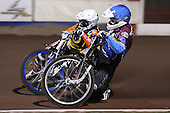 Heat 1: Stuart Robson (blue) and Fredrik Lindgren (white) - Lakeside Hammers vs Wolverhampton Wolves, Elite Shield Speedway at the Arena Essex Raceway, Purfleet - 26/03/10 - MANDATORY CREDIT: Rob Newell/TGSPHOTO - Self billing applies where appropriate - 0845 094 6026 - contact@tgsphoto.co.uk - NO UNPAID USE.