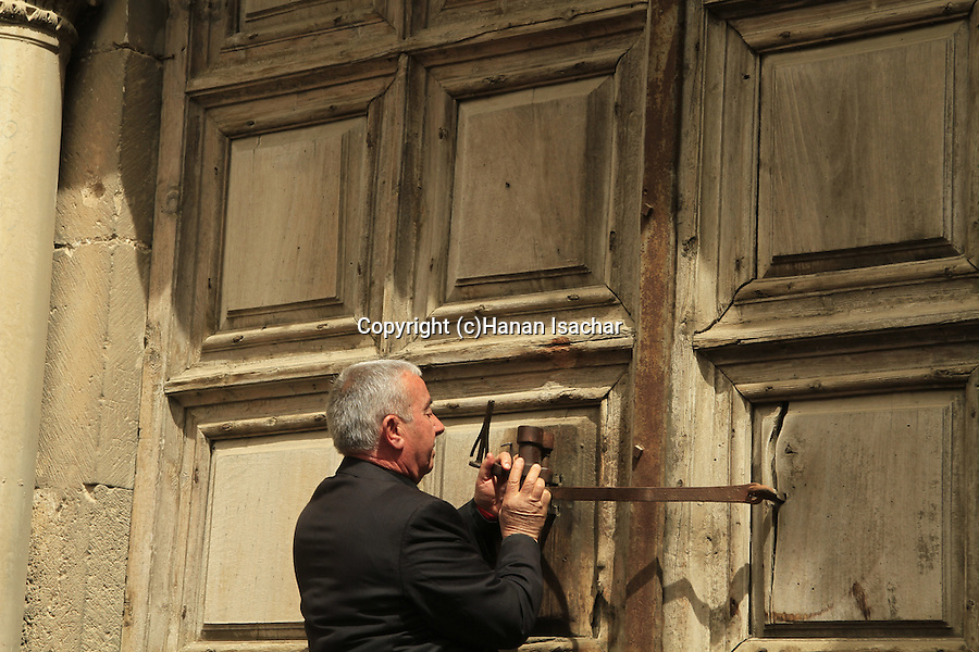 Jerusalem Old City, the opening of the door of the Church of the Holy Sepulchre before the Ceremony of the Holy Light on Holy Saturday