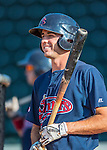 24 August 2016: Lowell Spinners infielder C.J. Chatham awaits his turn in the batting cage prior to a game against the Vermont Lake Monsters at Centennial Field in Burlington, Vermont. The Lake Monsters defeated the Spinners 5-3 in NY Penn League action. Mandatory Credit: Ed Wolfstein Photo *** RAW (NEF) Image File Available ***