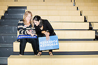 Leanne Tellam (left), of Palmetto Bay, Florida, and Irene Tapanes, of Coral Gables, Florida, sit in the bleachers after a campaign rally for Democratic presidential nominee Hillary Clinton in the Theodore R. Gibson Health Center at Miami Dade College-Kendall Campus in Miami, Florida, USA. Former Vice President Al Gore also spoke at the rally.