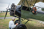 Getting ready for a flight in a 1928 Travel Aire biplane.