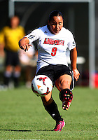 WINSTON-SALEM, NORTH CAROLINA - August 30, 2013:<br /> Charlyn Corral (9) of Louisville University fires off a shot against Virginia Tech during a match at the Wake Forest Invitational tournament at Wake Forest University on August 30. The game ended in a 1-1 tie.