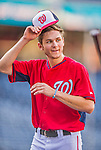 22 August 2015: Washington Nationals infielder Trea Turner ends his batting practice prior to a game against the Milwaukee Brewers at Nationals Park in Washington, DC. The Nationals defeated the Brewers 6-1 in the second game of their 3-game weekend series. Mandatory Credit: Ed Wolfstein Photo *** RAW (NEF) Image File Available ***