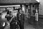 Paul and Linda McCartney Wings Tour  1975. Paul and Linda leave their hotel outside of Bristol, England.