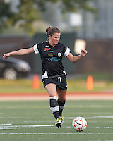 New England Mutiny defender Kelsey Hood (22) passes the ball. In a Women's Premier Soccer League Elite (WPSL) match, the Boston Breakers defeated New England Mutiny, 4-2, at Dilboy Stadium on June 20, 2012.