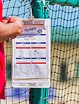 10 March 2015: The Washington Nationals batting practice schedule hangs on the batting cage prior to a Spring Training game against the Miami Marlins at Roger Dean Stadium in Jupiter, Florida. The Marlins edged out the Nationals 2-1 on a walk-off solo home run in the 9th inning of Grapefruit League play. Mandatory Credit: Ed Wolfstein Photo *** RAW (NEF) Image File Available ***