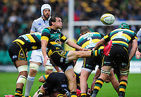Lee Dickson of Northampton Saints box-kicks the ball. Aviva Premiership match, between Northampton Saints and Bath Rugby on September 3, 2016 at Franklin's Gardens in Northampton, England. Photo by: Patrick Khachfe / Onside Images