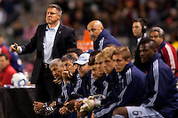 Sporting Kansas City head coach Peter Vermes at the end of bench shouts out directives. Sporting KC defeated CD Chivas USA 3-2 at Home Depot Center stadium in Carson, California on Saturday March 19, 2011...