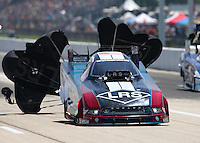 Apr 25, 2015; Baytown, TX, USA; NHRA funny car driver Tim Wilkerson during qualifying for the Spring Nationals at Royal Purple Raceway. Mandatory Credit: Mark J. Rebilas-