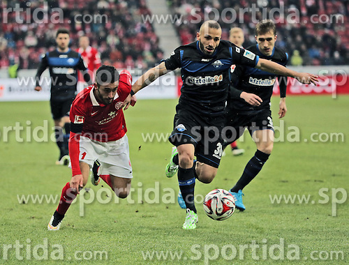 31.01.2015, Coface Arena, Mainz, GER, 1. FBL, 1. FSV Mainz 05 vs SC Paderborn 07, 18. Runde, im Bild v.l.: Yunus Malli (Mainz) gegen Sueleyman Koc (SCP) // during the German Bundesliga 18th round match between 1. FSV Mainz 05 and SC Paderborn 07 at the Coface Arena in Mainz, Germany on 2015/01/31. EXPA Pictures &copy; 2015, PhotoCredit: EXPA/ Eibner-Pressefoto/ Neurohr<br /> <br /> *****ATTENTION - OUT of GER*****