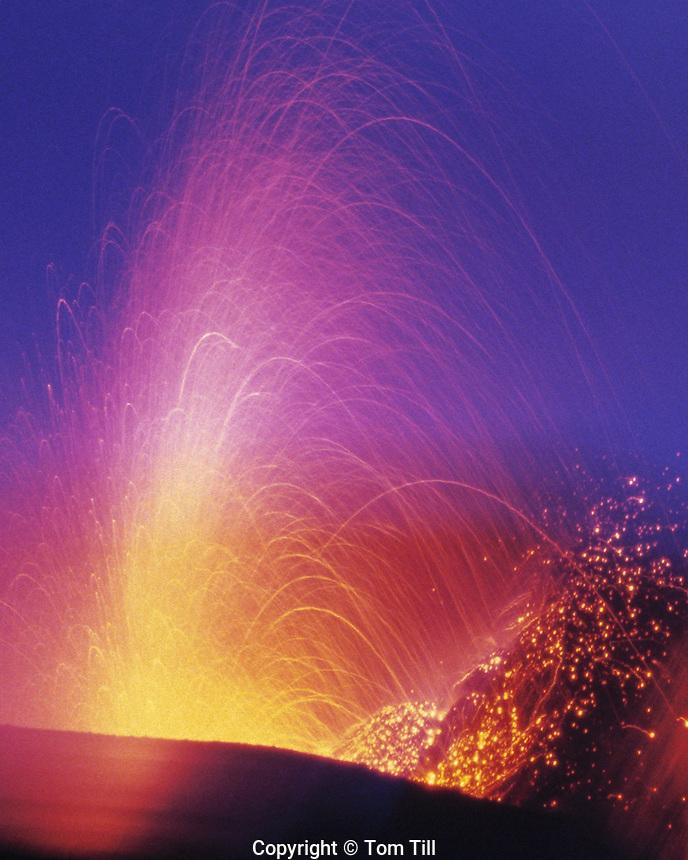 Eruptions of Stromboli Volcano, Aeolian Islands, Italy    UNESCO World Heritage Site  Mediteranean Sea   Magma eruptions .
