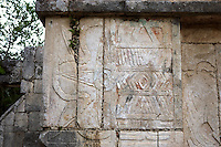 Symbol of Venus with the serpent's head of the staircase behind, The Temple of Venus, 1100-1300 AD, Toltec Architecture, Chichen Itza, Yucatan, Mexico. Picture by Manuel Cohen