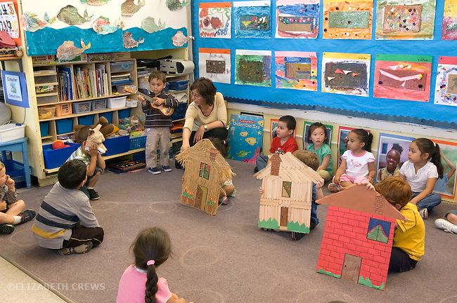 """Berkeley CA  Preschool students putting on casual production of """"The Three Little Pigs"""" in class."""