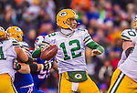 14 December 2014: Green Bay Packers quarterback Aaron Rodgers sets to pass in the third quarter against the Buffalo Bills at Ralph Wilson Stadium in Orchard Park, NY. The Bills defeated the Packers 21-13, snapping the Packers' 5-game winning streak and keeping the Bills' 2014 playoff hopes alive. Mandatory Credit: Ed Wolfstein Photo *** RAW (NEF) Image File Available ***