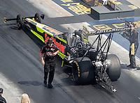 Sep 17, 2016; Concord, NC, USA; Rob Flynn , crew chief for NHRA top fuel driver J.R. Todd during qualifying for the Carolina Nationals at zMax Dragway. Mandatory Credit: Mark J. Rebilas-USA TODAY Sports