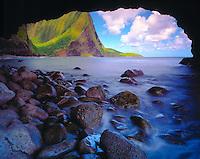 Keanapuka Sea Arch,  Island of Molokai, Hawaii   World's highest sea cliffs seen through arch. North Coast of Molokai