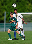1 September 2009: University of Vermont Catamount forward/midfielder T.J. Gore, a Senior from Macomb, MI, in action against the Siena College Saints at Centennial Field in Burlington, Vermont. The Saints edged out the Catamounts 1-0. Mandatory Photo Credit: Ed Wolfstein Photo