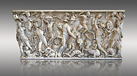 Roman sarcophagus depicting a battle between Achilles and Pentesilea and Amazons, the faces of the deceased have been sculpted over the Greek heroes, circa 230-250 AD, inv 933, Vatican Museum Rome, Italy,  grey background