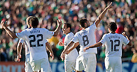 PASADENA, CA – June 25, 2011: USA players Alejandro Bedoya (22), Landon Donovan(10), Clint Dempsey (8) and Jonathan Bornstein (12) during the Gold Cup Final match between USA and Mexico at the Rose Bowl in Pasadena, California. Final score USA 2 and Mexico 4.