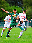 12 September 2010: University of Vermont Catamount defender Salvatore Borea, a Freshman from New Canaan, CT, works  against Cornell University Big Red forward Tyler Regan, a Sophomore from Philadelphia, PA, at Centennial Field in Burlington, Vermont. The Catamounts defeated the Big Red 2-1. Mandatory Credit: Ed Wolfstein Photo