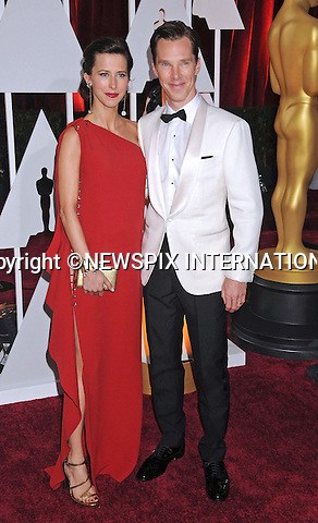 22.02.2015; Hollywood, California: 87TH OSCARS - BENEDICT CUMBERBATCH AND WIFE HANNAH BAGSHAWE<br /> <br /> Celebrity arrivals at the Annual Academy Awards, Dolby Theatre, Hollywood.<br /> Mandatory Photo Credit: &copy;NEWSPIX INTERNATIONAL<br /> <br />               **ALL FEES PAYABLE TO: &quot;NEWSPIX INTERNATIONAL&quot;**<br /> <br /> PHOTO CREDIT MANDATORY!!: NEWSPIX INTERNATIONAL(Failure to credit will incur a surcharge of 100% of reproduction fees)<br /> <br /> IMMEDIATE CONFIRMATION OF USAGE REQUIRED:<br /> Newspix International, 31 Chinnery Hill, Bishop's Stortford, ENGLAND CM23 3PS<br /> Tel:+441279 324672  ; Fax: +441279656877<br /> Mobile:  0777568 1153<br /> e-mail: info@newspixinternational.co.uk