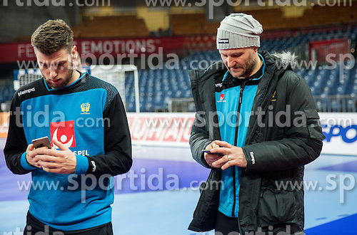 Niclas Ekberg and Ola Lindgren during practice session of Team Sweden on Day 1 of Men's EHF EURO 2016, on January 15, 2016 in Centennial Hall, Wroclaw, Poland. Photo by Vid Ponikvar / Sportida