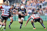 Dave Attwood of Bath Rugby faces off against Gareth Evans of Gloucester Rugby. West Country Challenge Cup match, between Bath Rugby and Gloucester Rugby on September 26, 2015 at the Recreation Ground in Bath, England. Photo by: Patrick Khachfe / Onside Images
