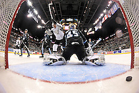 San Antonio Rampage players celebrate a goal in front of Milwaukee Admirals goaltender Magnus Hellberg in the second period of an AHL hockey game, Thursday, Jan. 16, 2014, in San Antonio (Darren Abate/AHL)