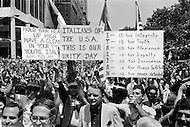 29 Jun 1970, Manhattan, New York City, New York State, USA. A crowd of 75,000 Italian Americans gathers at New York's Columbus Circle for Italian Unity Day. The demonstrators hold signs celebrating their Italian heritage.