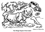 Where No Vultures Fly : Rhinoceros and car..