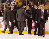 Paul Pearl (Harvard - Associate Head Coach), Ted Donato (Harvard - Head Coach), Brian Robinson (Harvard - Volunteer Assistant), Rob Rassey (Harvard - Assistant Coach), Jerry Keefe (NU - Associate Head Coach), Jim Madigan (NU - Head Coach) - The Harvard University Crimson defeated the Northeastern University Huskies 4-3 in the opening game of the 2017 Beanpot on Monday, February 6, 2017, at TD Garden in Boston, Massachusetts.