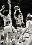 BKB 611 B-30.BYU Men's Basketball vs University of Utah.Jan 31, 1981.Danny Ainge (#22) shooting the ball...Photo by Mark Philbrick/BYU.