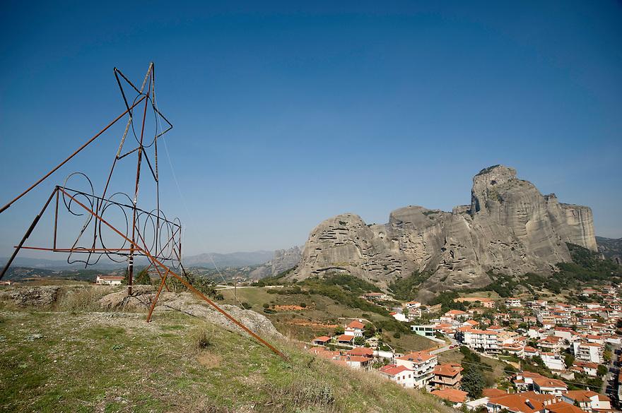 Greece, Meteora, Kalampaka Town in daylight