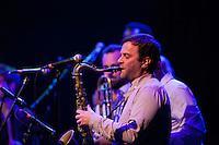 Tenor saxophonist, Stuart Bogie, takes a solo during the Antibalas performance at Union Transfer in Philadelphia on December 13, 2012.