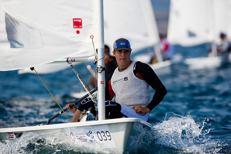 20140912, Santander, Spain: 2014 ISAF SAILING WORLD CHAMPIONSHIPS - More than 1,250 sailors in over 900 boats from 84 nations will compete at the Santander 2014 ISAF Sailing World Championships from 8-21 September 2014. The best sailing talent will be on show and as well as world titles being awarded across ten events 50% of Rio 2016 Olympic Sailing Competition places will be won based on results in Santander. Boat class and Sailor(s): Laser - USA194180 - Chris Barnard. Photo: Mick Anderson/SAILINGPIX.DK.