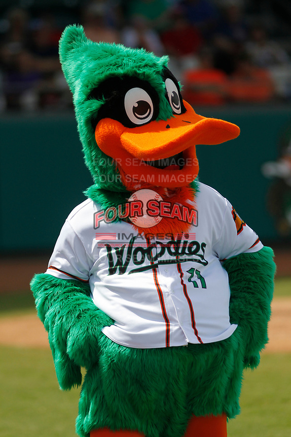 Down East Wood Ducks mascot Dewd (11) during a game against the Salem Red Sox at Grainger Stadium on April 16, 2017 in Kinston, North Carolina. Salem defeated Down East 9-2. (Robert Gurganus/Four Seam Images)