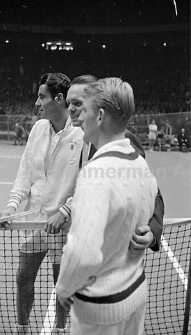 Jack Kramer (center) with tennis players Pancho Gonzales and Lew Hoad, Madison Square Garden, 2/58. Photograph by John G. Zimmerman